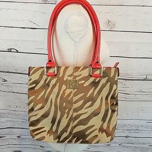 Anne Klein animal print purse w/coral & gold trim